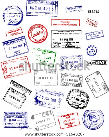a mix of passport stamps from