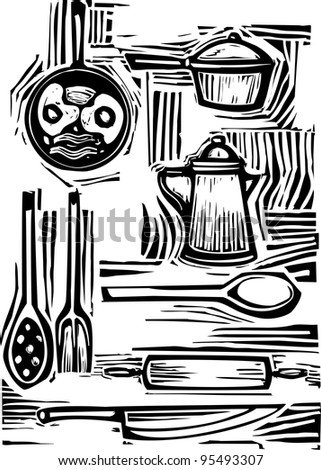 A mixed set of pots, pans, forks and spoons for the kitchen.