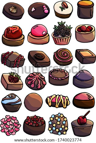 A mixture of sweets, chocolates, pastries and cakes on a white background, freaky sweets, with sprinkling, jam, cream, waffle, cream, cartoon, pastry shop, menu of a candy store, cafe, for children Stok fotoğraf ©
