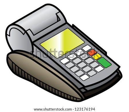 A mobile hand-held point of sale pin pad / terminal on its charging cradle.