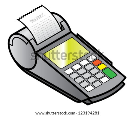 A mobile hand-held point of sale pin pad / terminal printing a receipt.