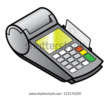 A mobile hand-held point of sale pin pad / terminal with a card in the swipe slot.