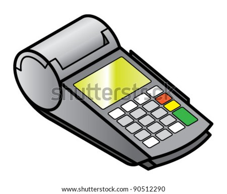 A mobile hand-held point of sale pin pad / terminal with card readers and printer. - stock vector
