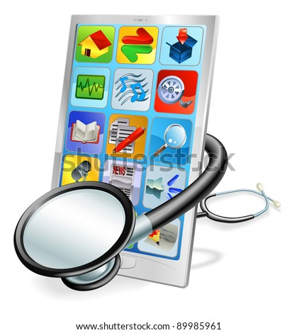 A mobile phone or tablet pc with stethoscope wrapped round it. Health check concept
