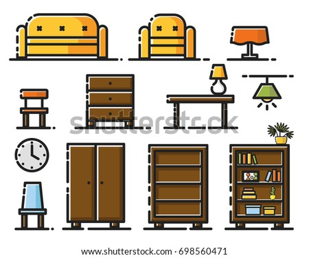 A Modern And Unique Icon Symbol Illustration Set Of Living Room Furniture Items