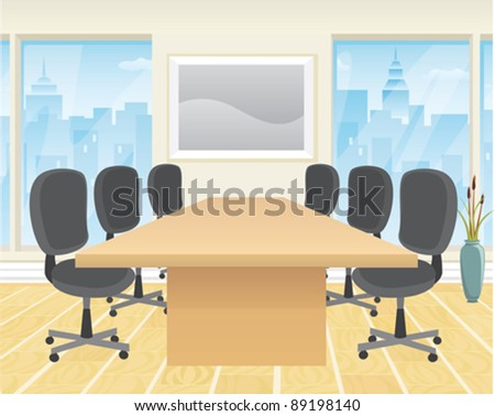 A modern boardroom with conference table and chairs.