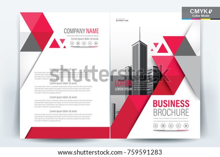 A modern business brochure layout with red triangle vector illustration