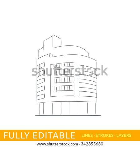 A modern commerce building in the Hague Holland. Sketch line flat design of commerce architecture. Modern vector illustration concept. Fully editable outlines, saved brushes and layers.
