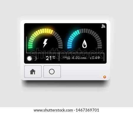 A modern home energy smart meter for tracking and reading gas and electricity usage. Vector illustration. Stock photo ©