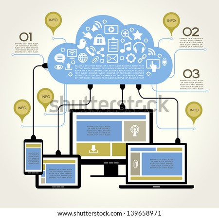 A modern set of infographics and icons Social Media. Abstract infographics design. Social network, communication in the global computer networks. laptop phone tablet  Connection.