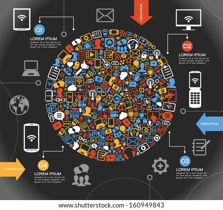 A modern set of infographics and icons Social Media. Abstract infographics design with paper numbered labels - vector illustration. This work - eps10 vector file, contains transparent elements  - stock vector
