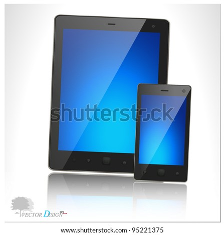 A modern tablet pc and smart phone for mobile communication with blue screen. Vector illustration.