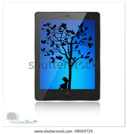A modern tablet pc with silhouette of children read a book under tree. Vector background. Vector illustration. - stock vector