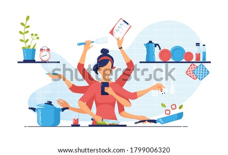 A modern woman with eight arms performs many tasks simultaneously in the kitchen. chef cooking. Multitasking and time management concept. Vector flat illustration. Stockfoto ©