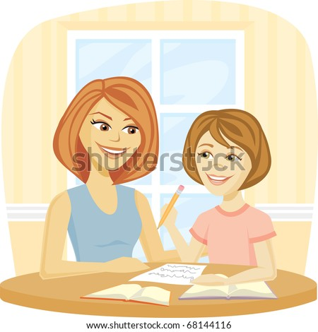 A Mom helping her daughter with homework or schoolwork at home.
