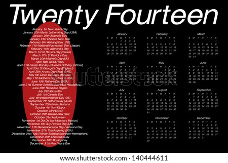 A 12 month calendar for 2014 featuring a list of international holidays and occasions