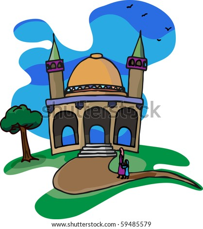 A mother and daughter walk together on a beautiful day for a visit to a little mosque on a hill.