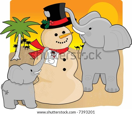 A mother elephant and baby in the desert building a snowman made  of sand