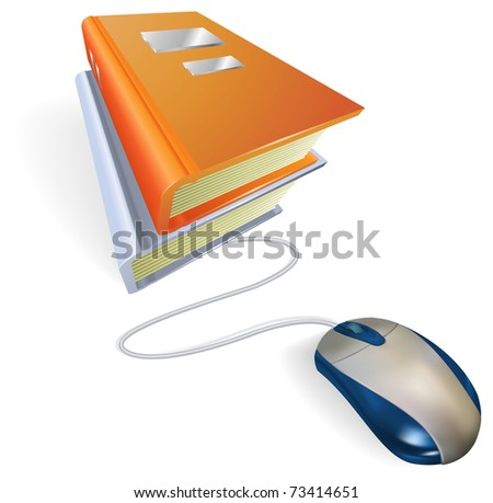 A mouse connected to a stack of books. Concept for online internet learning, education, information storage or e-books.