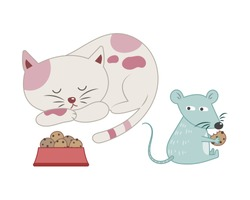 A mouse stealing cat food while the cat is sleeping vector illustration cartoon. Cat and mouse pastel cartoon.