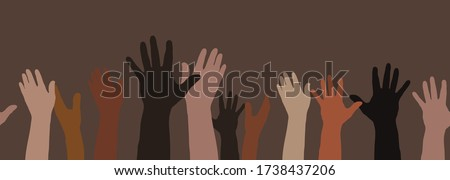 A multi-ethnic, multicultural group raises their hands up (horizontally seamless).