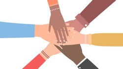 A multiethnic group of men and women joined hands. The concept of cooperation, unity, friendship and mutual assistance. Vector illustration. Flat style