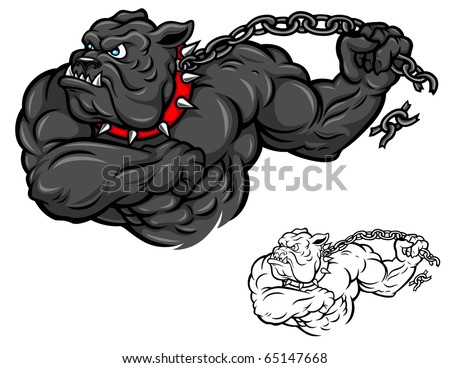 A muscular cartoon Bulldog breaks free from a chain. - stock vector