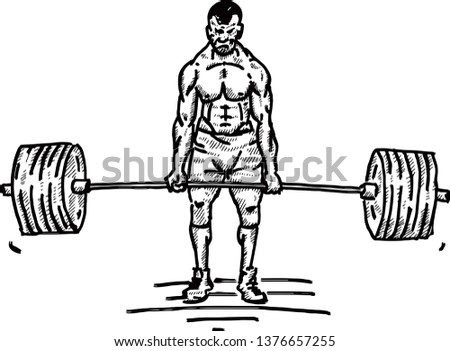 A muscular weightlifter lifting heavy weights. Hand drawn vector illustration.