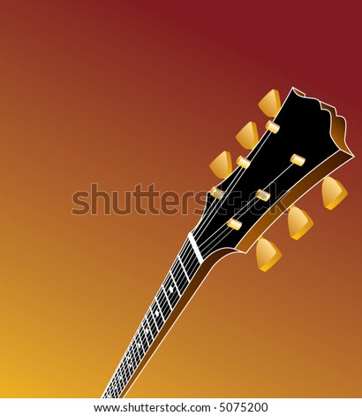 A music background with a guitar headstock in the foreground and space for text