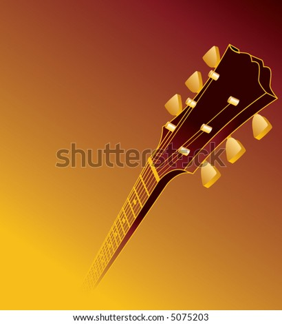 A music background with a guitar headstock in the foreground that fades into the background and space for text