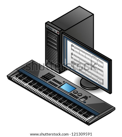 Best Keyboard Workstation For Composing : a music composition workstation with a large screen monitor and musical keyboard stock vector ~ Hamham.info Haus und Dekorationen