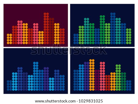 A musical equalizer from small circles. Set. Different color combinations. Vector