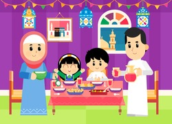 a Muslim family are getting ready for the breakfast ( iftar food ) during Ramadan