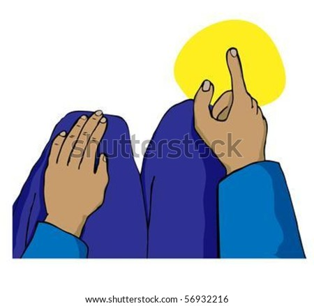 A Muslim in the sitting position during the prayer pointing with the right forefinger on the right hand toward the Kaaba in Mecca. The EPS version can be easily modified and scaled without loss. - stock vector