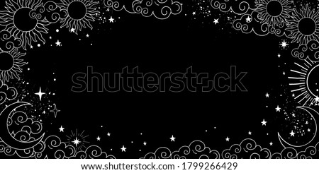 A mystical heavenly black banner with copy space, moon, sun, and stars. Space background with place for text. Blank for astrology, fortune-telling, boho parties. Vector illustration