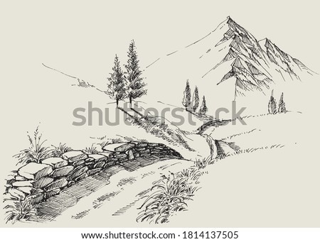 A narrow footpath in the mountains, alpine relaxing landscape hand drawing Stockfoto ©