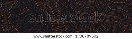 a narrow topographic map on a dark brown background Photo stock ©