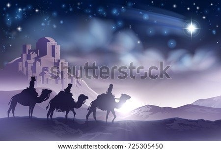 A Nativity Christmas Illustration Of The Three Wise Men Magi On Their Journey Following Star