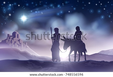 A nativity Christmas scene illustration of the Mary and Joseph a donkey on their journey, the star of Bethlehem and the city in the background