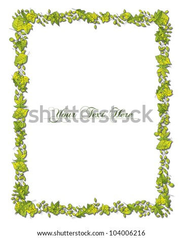 A nature themed border in a rectangular format. Eps10 Vector.
