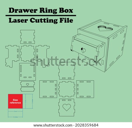 A neat little wood box made from 3mm laser ply and sized to give a 6.1x6x5.6cm internal dimension. Would make a lovely little engagement ring box.