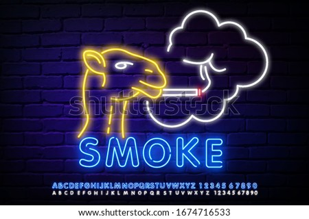 A neon Camel smokes a cigarette. Smoking camel neon. Smoking, healthcare and addiction design. Night bright neon sign, colorful billboard, light banner. Vector illustration in neon style.