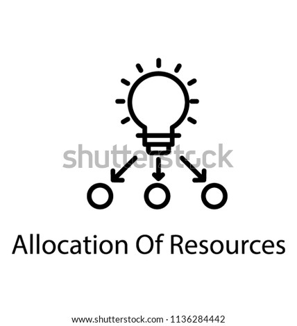 A network where light bulb, a team lead, sending some transitions to team members, whole idea describing icon for allocation of resources