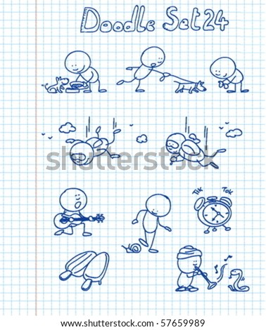A new funny and adorable doodle set with a cute character in different situations