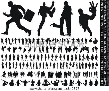 a new huge collection of excellent high quality traced people silhouettes vector illustration