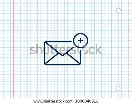 A new message, a picture of a letter with a plus sign, vector icon.