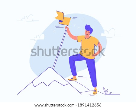 A new milestone reached. Flat vector illustration of young smiling man is standing on the top of a mountain and holds a yellow flag. Concept design for goals achievement and targets achieved