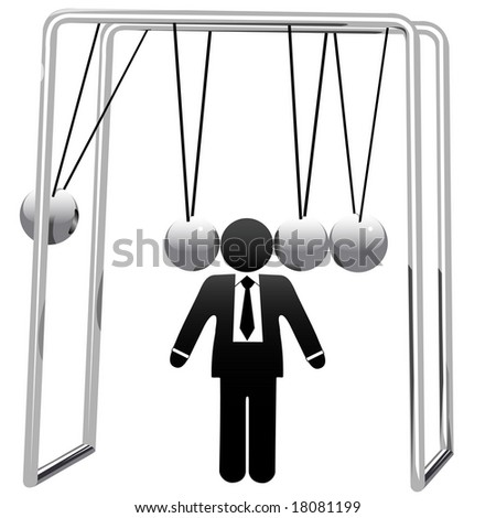 A Newton's Cradle business desktop toy cradles a symbol business man's head.