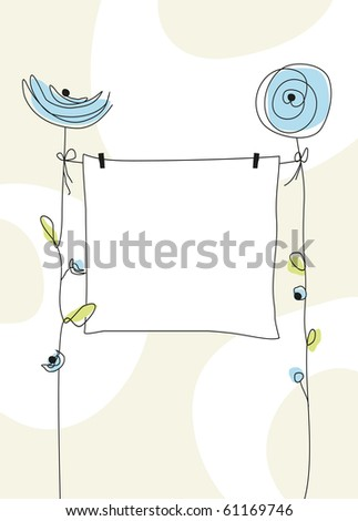 A nice birth greeting card for a boy - stock vector