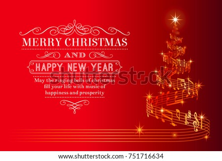 A nice Christmas Greeting Card with a Christmas tree composed by a flowing music score